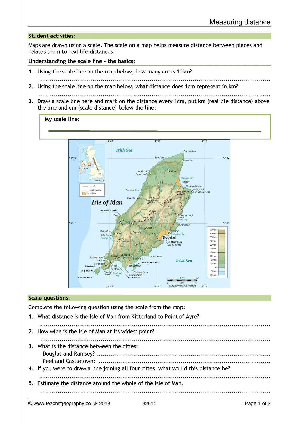 Geography Map Skills Worksheets Measuring Distance Scale