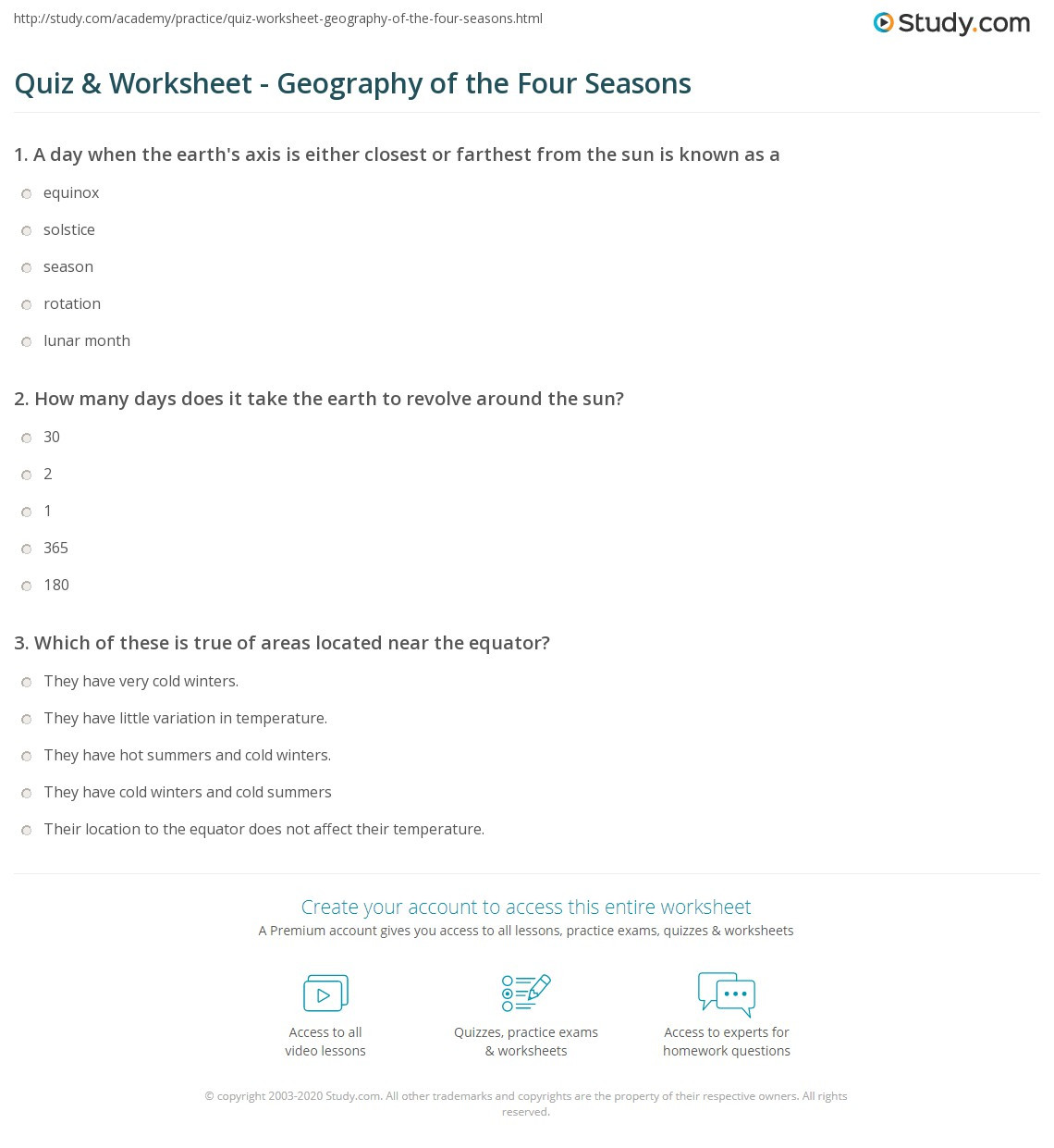 Geography Worksheets Middle School Quiz & Worksheet Geography Of the Four Seasons