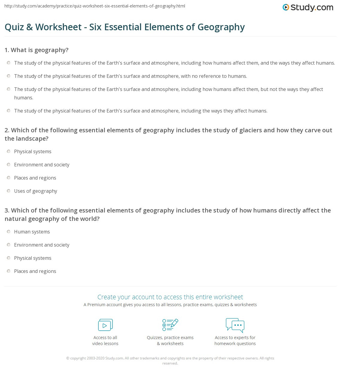 Geography Worksheets Middle School Quiz & Worksheet Six Essential Elements Of Geography