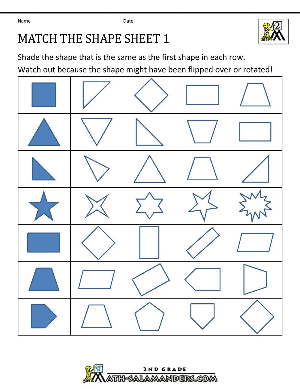 Geometric Shapes Worksheets 2nd Grade Pin On Grade Worksheets