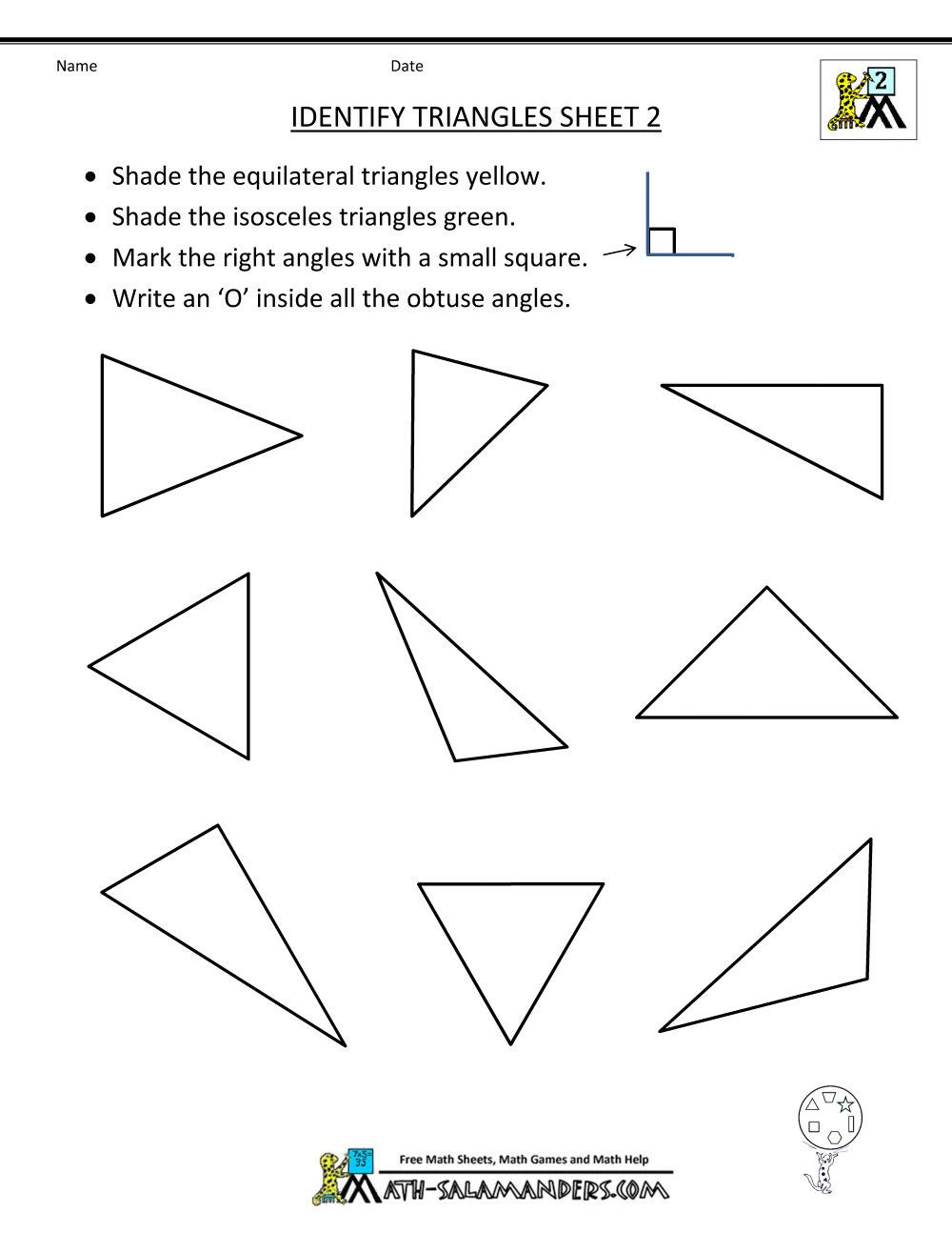 Geometry Worksheet 2nd Grade 8 Fact Triangle Worksheets Print In 2020