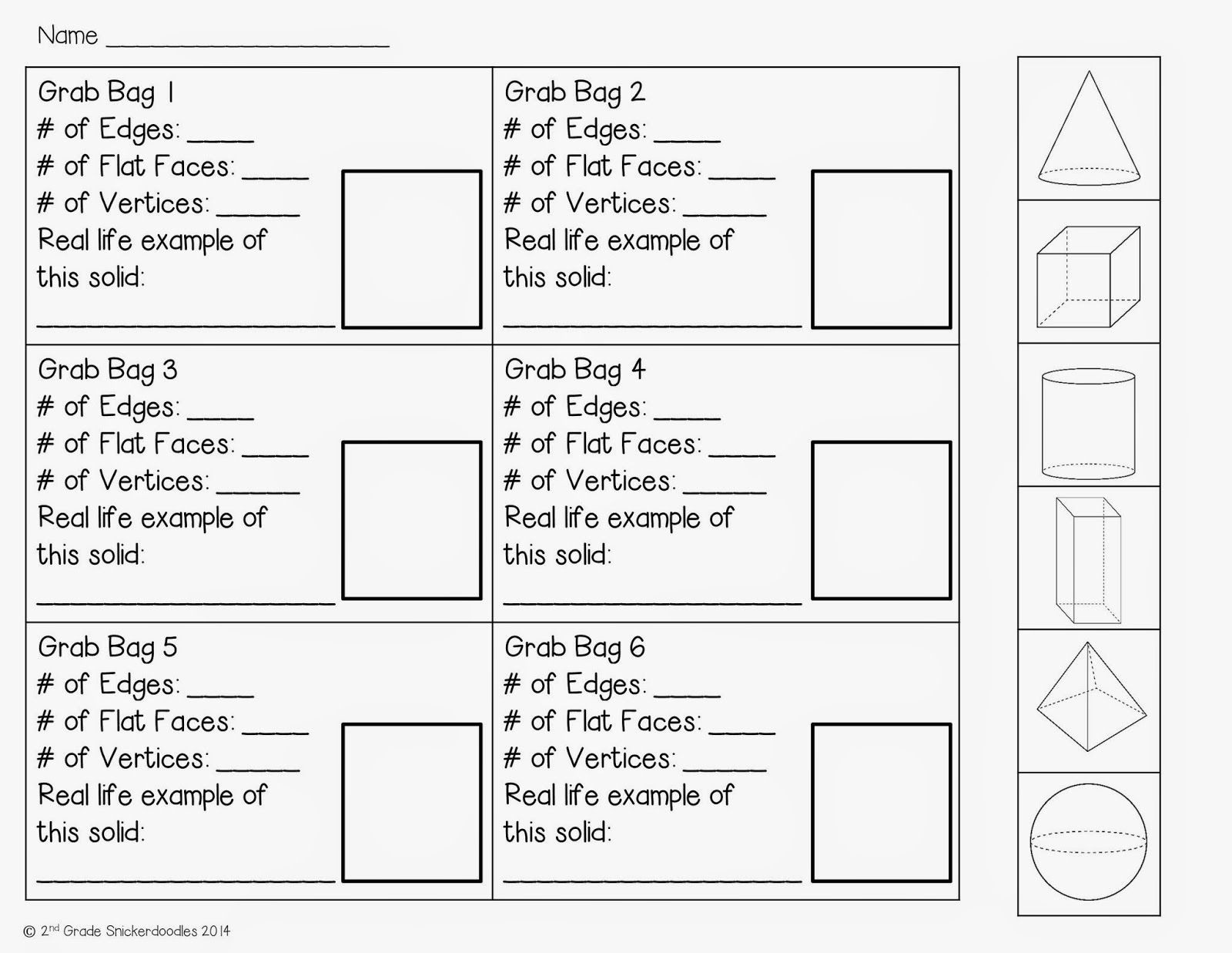 Geometry Worksheet 2nd Grade Geometric solids Grab Bag Activity