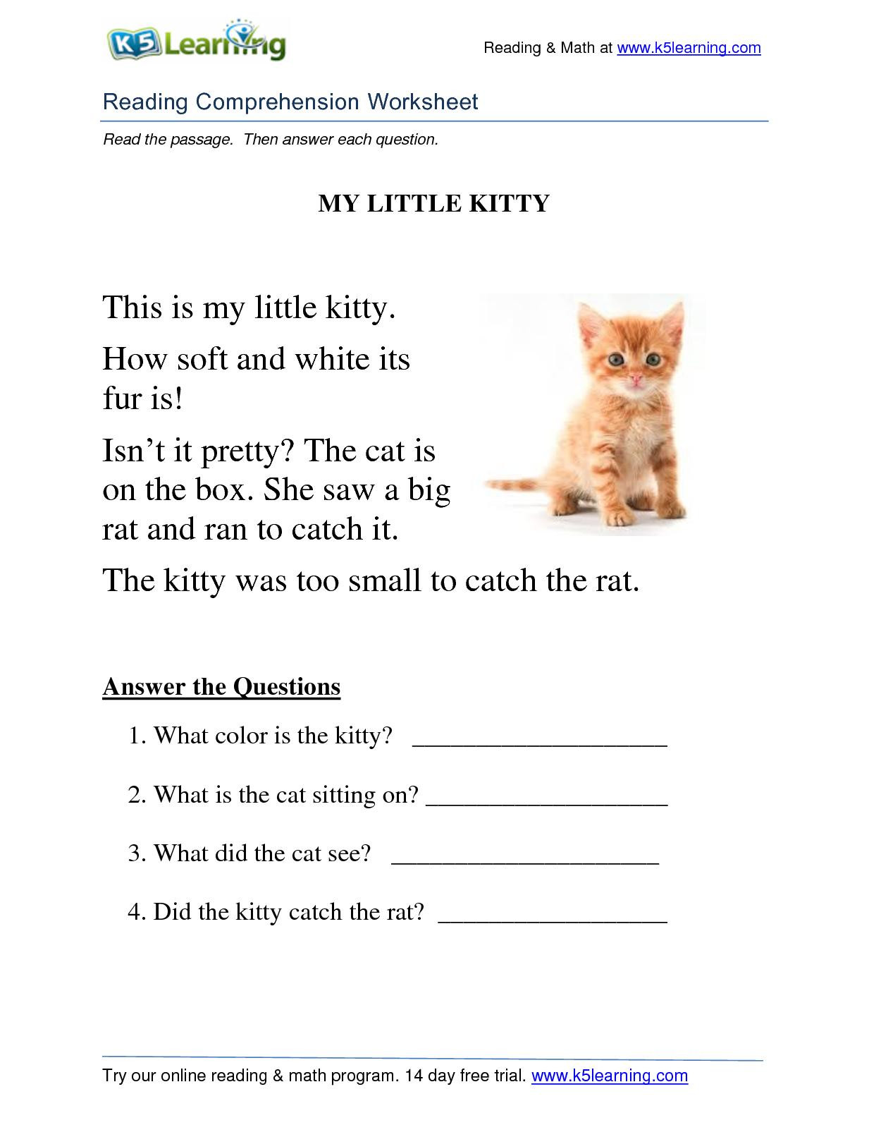 Grade 1 Reading Worksheets Math Worksheet Grade Reading Prehension Free Worksheets