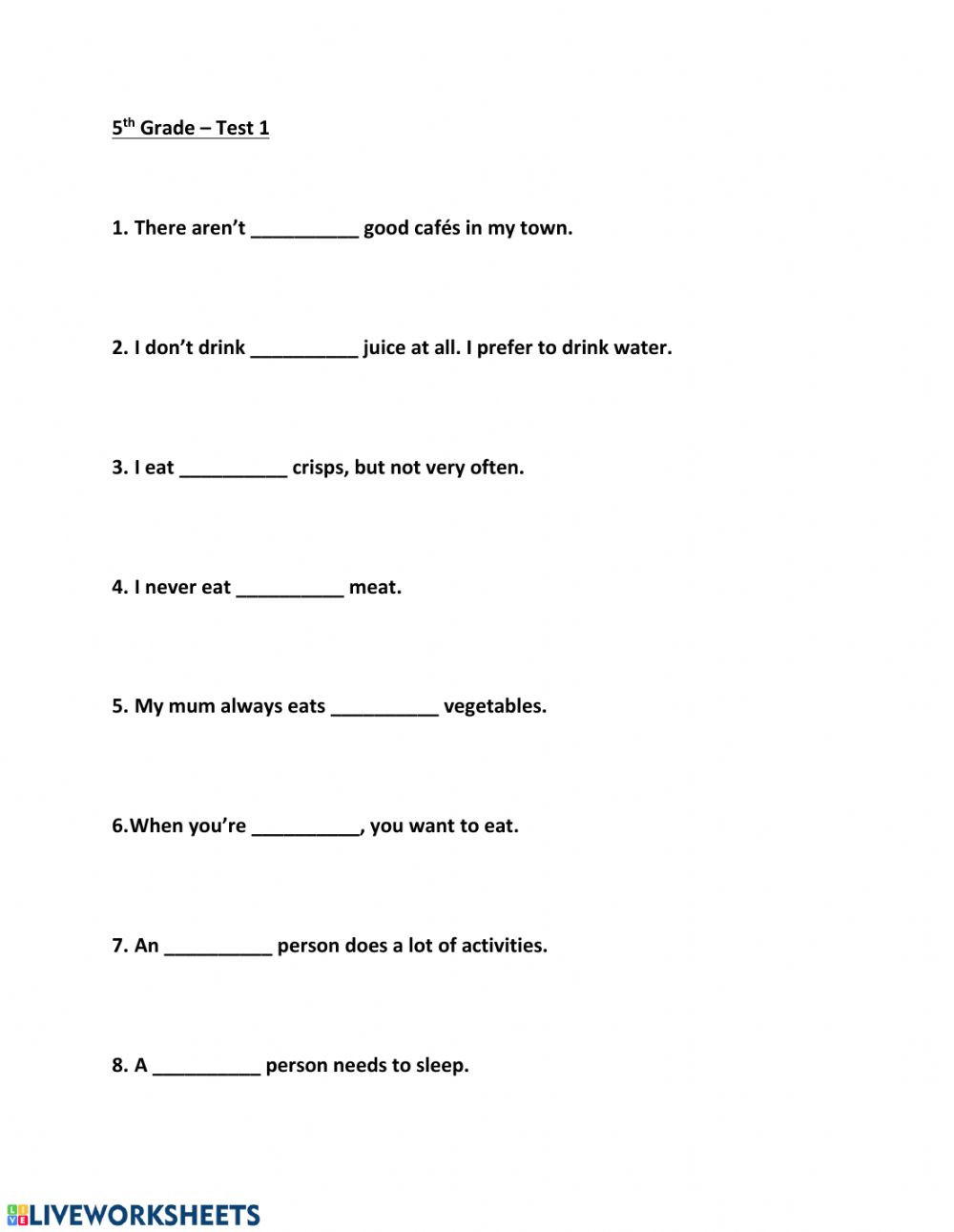 Grammar Worksheet 5th Grade 5th Grade Test 1 Interactive Worksheet