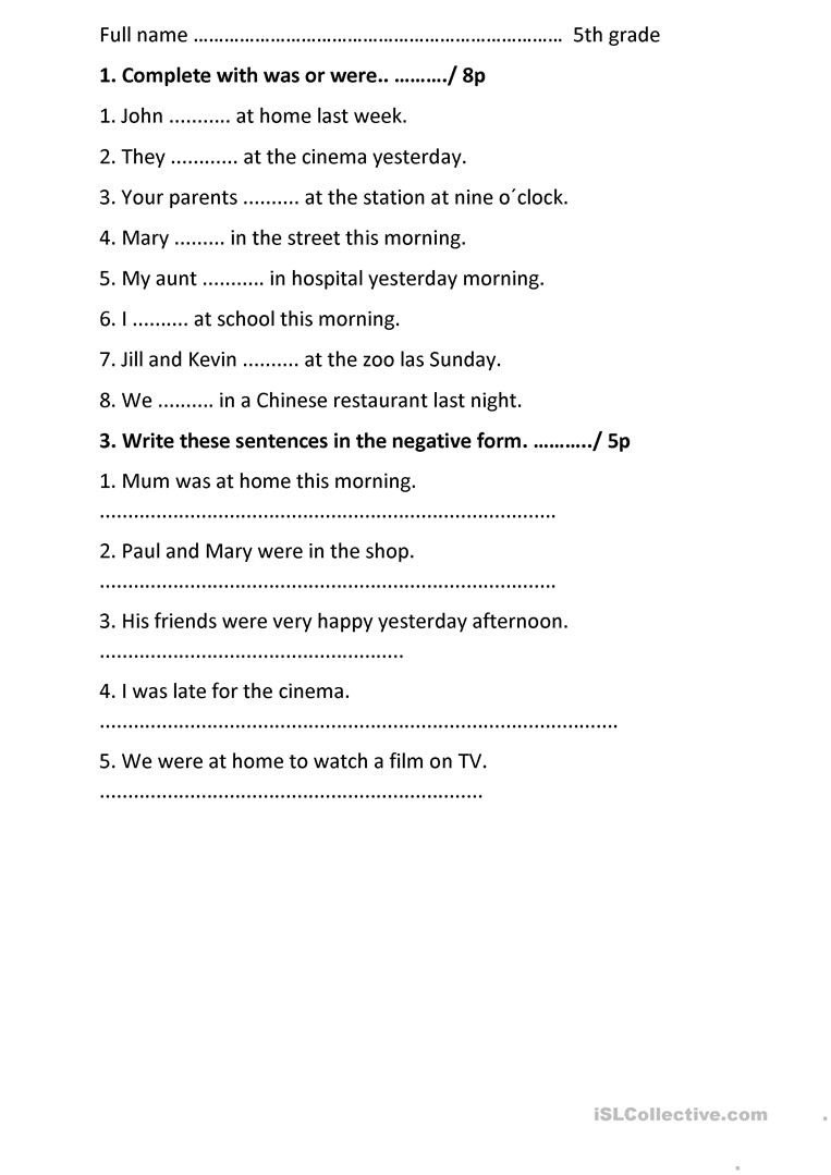 Grammar Worksheet 5th Grade Past Simple Be English Esl Worksheets for Distance