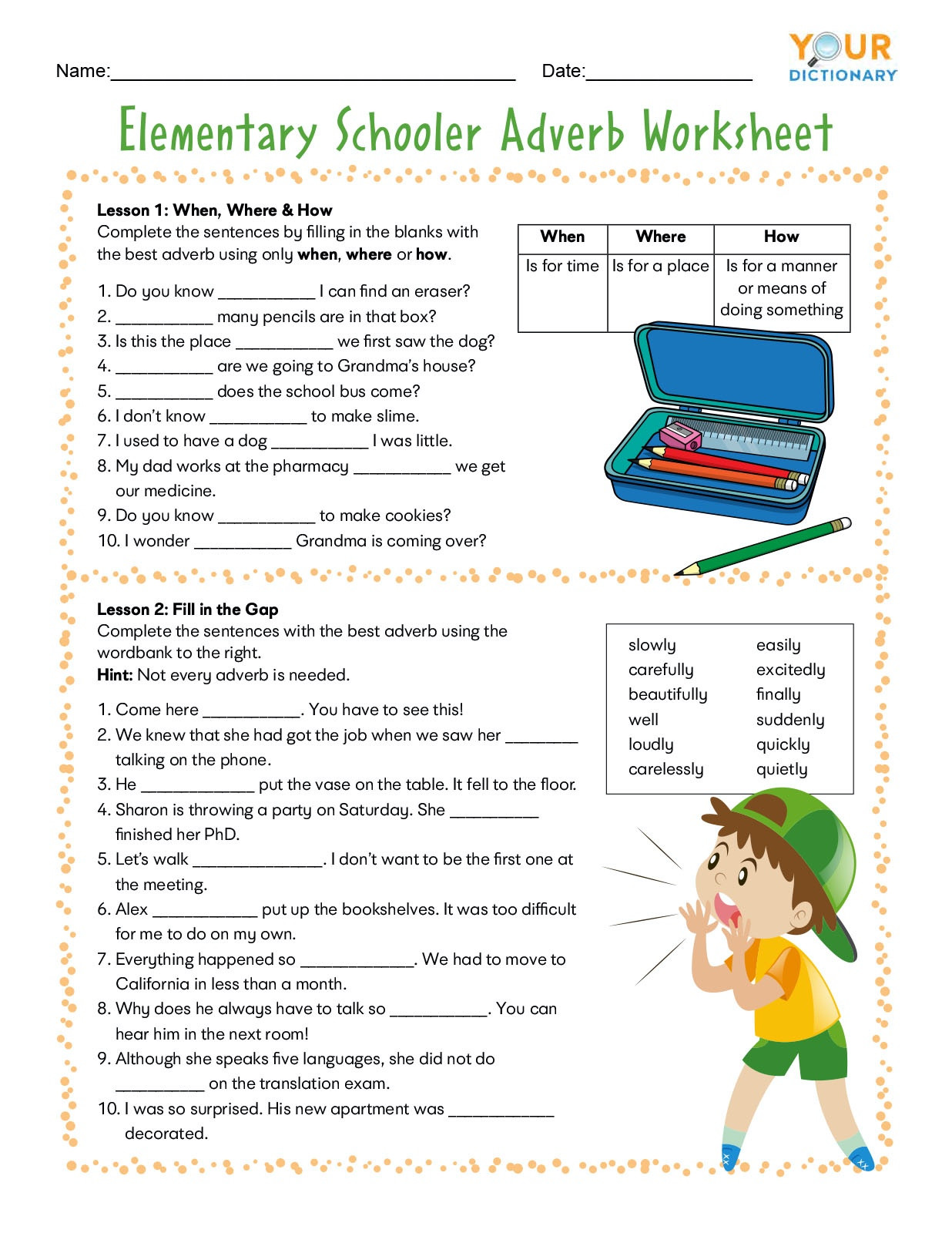 Grammar Worksheets for Grade 5 Adverb Worksheets for Elementary and Middle School