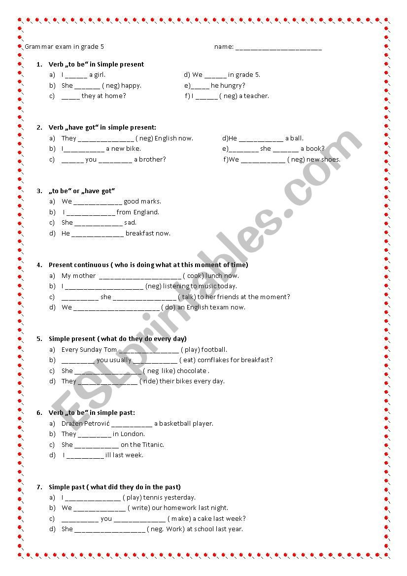 Grammar Worksheets for Grade 5 Grammar Exam In Grade5 Esl Worksheet by Mako5
