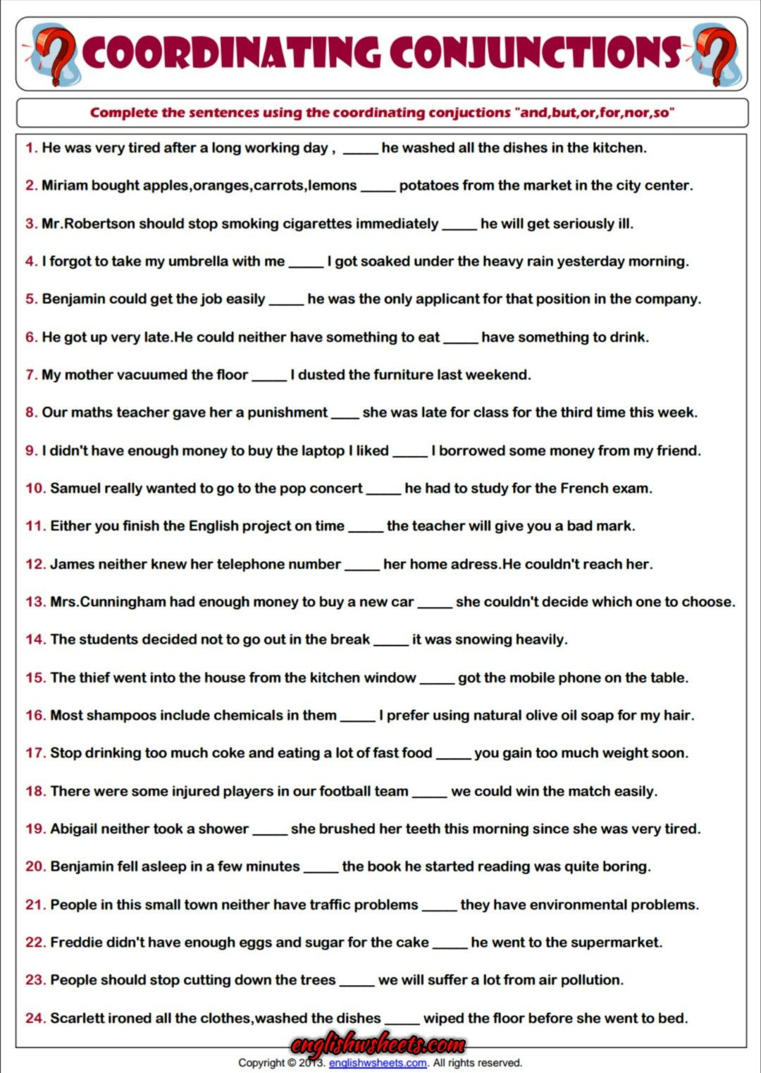 Grammar Worksheets for Middle School Coordinating Conjunctions Esl Printable Grammar Worksheet
