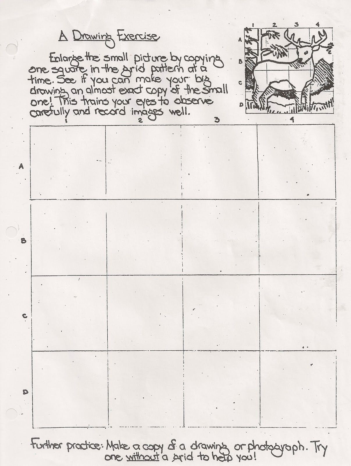 Grid Drawing Worksheets Middle School Drawing Exercise Worksheet Handout Useful Grid Exercise