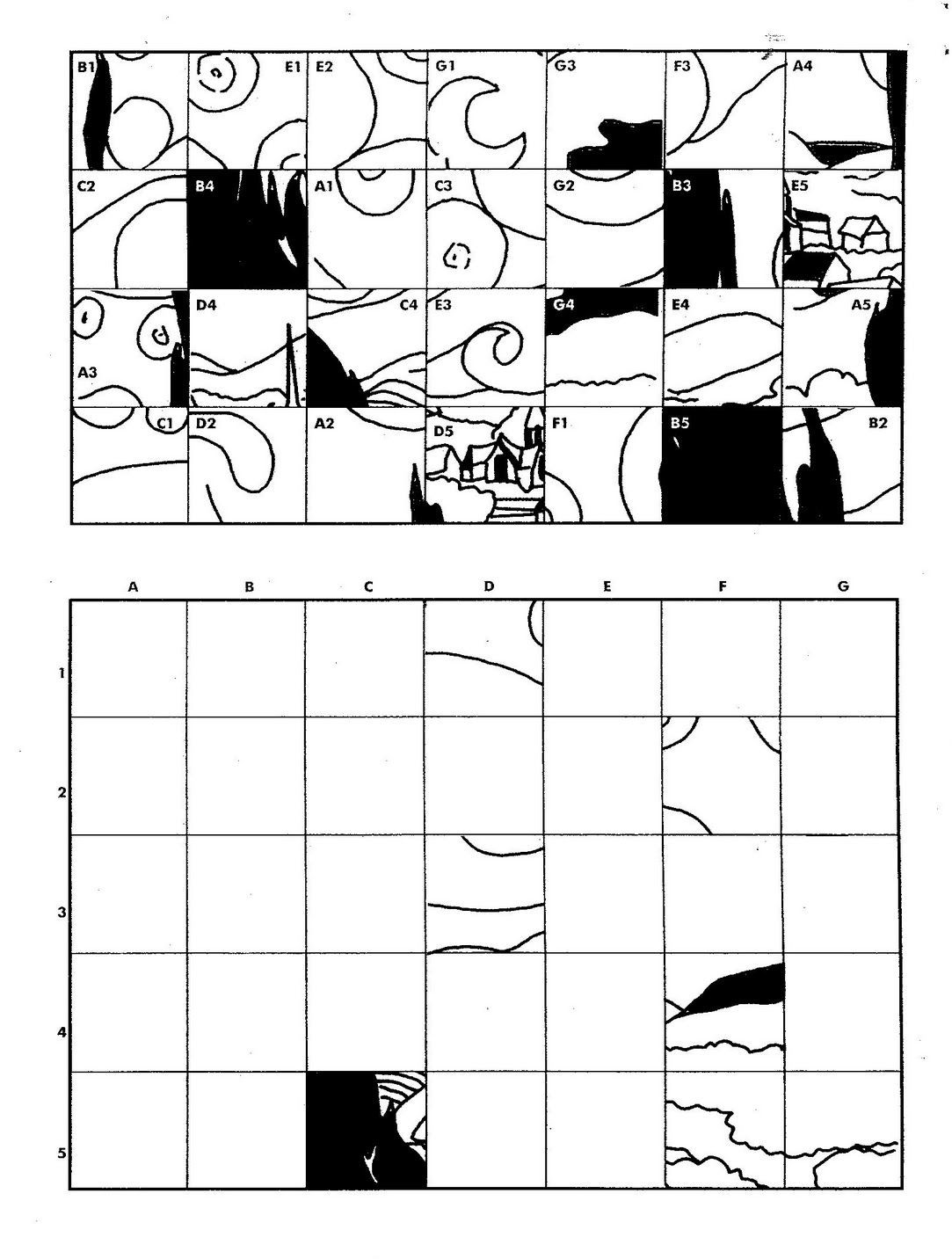 Grid Drawing Worksheets Middle School Starry Night Fill In