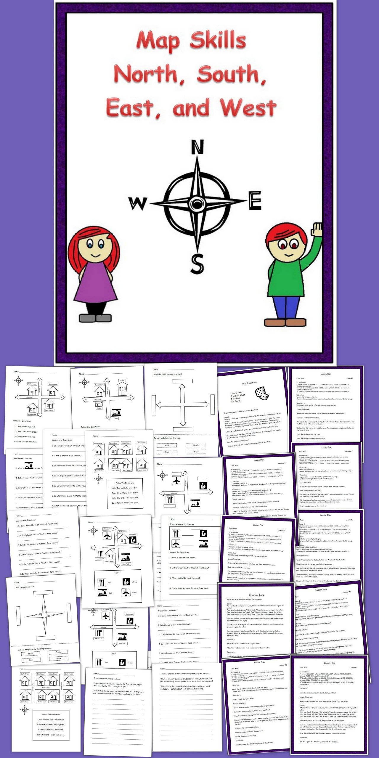 Grid Map Worksheets Grade 2 Map Skills N S E W