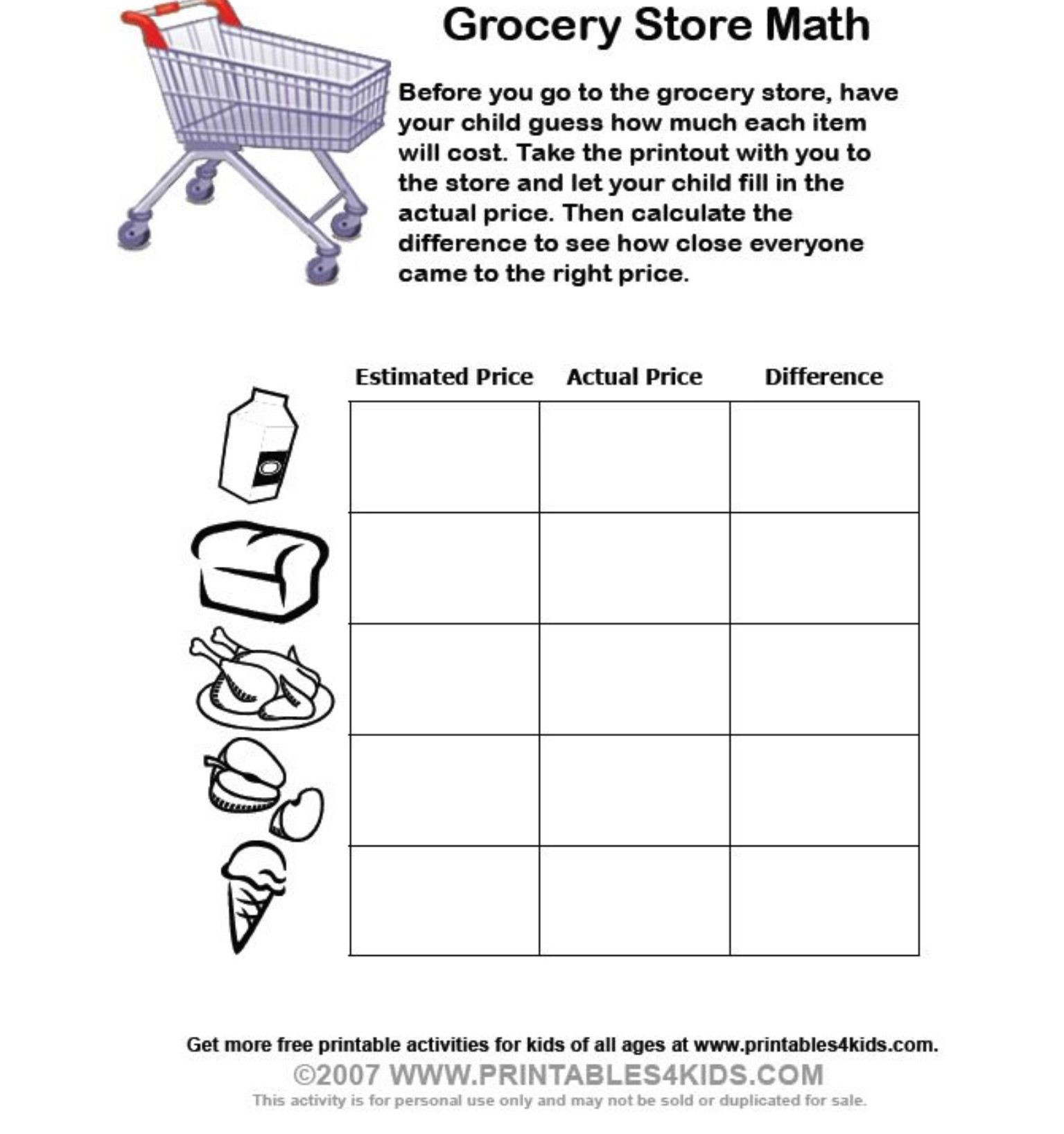Grocery Shopping Math Worksheets Grocery Math Worksheets