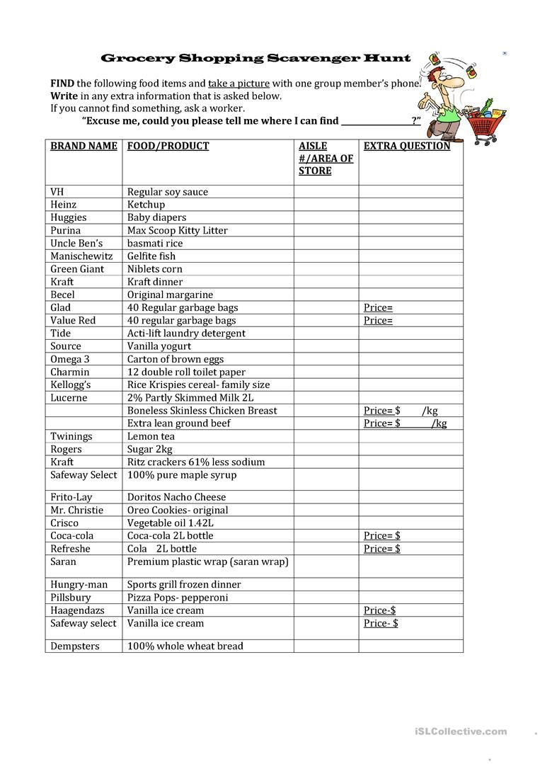 Grocery Store Math Worksheets Grocery Shopping Scavenger Hunt