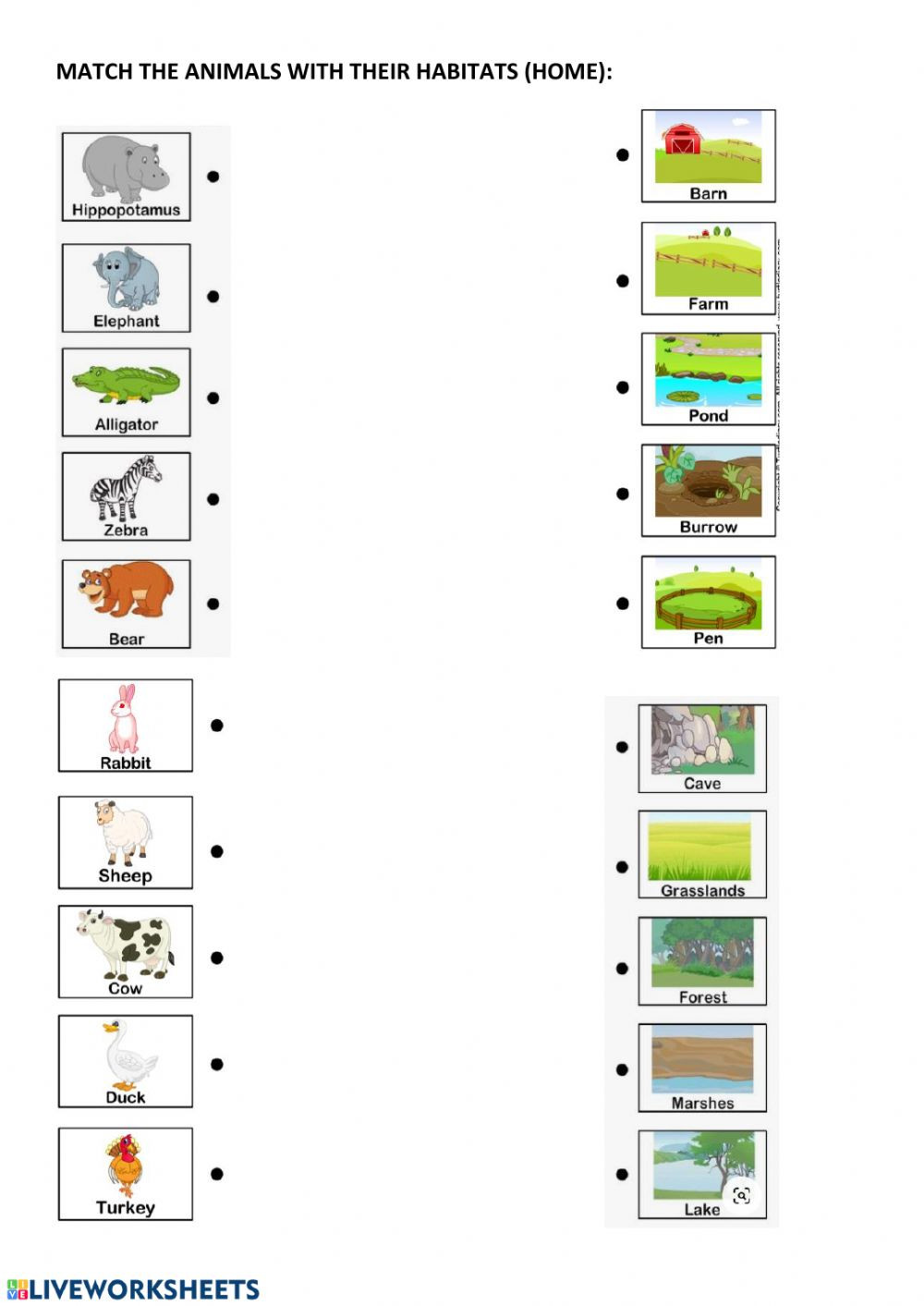 Habitat Worksheets for 1st Grade Animal Habitats and Home Interactive Worksheet Worksheets