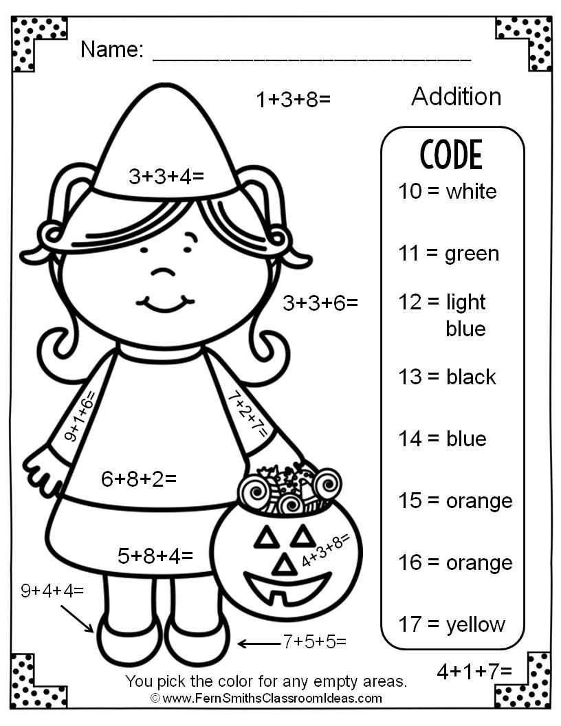 Halloween Math Coloring Worksheets Two Free Halloween Color by Numbers Addition with Three