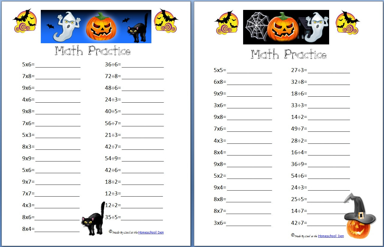 Halloween Math Worksheets Middle School Free Halloween Math Worksheets Homeschool Denhomeschool