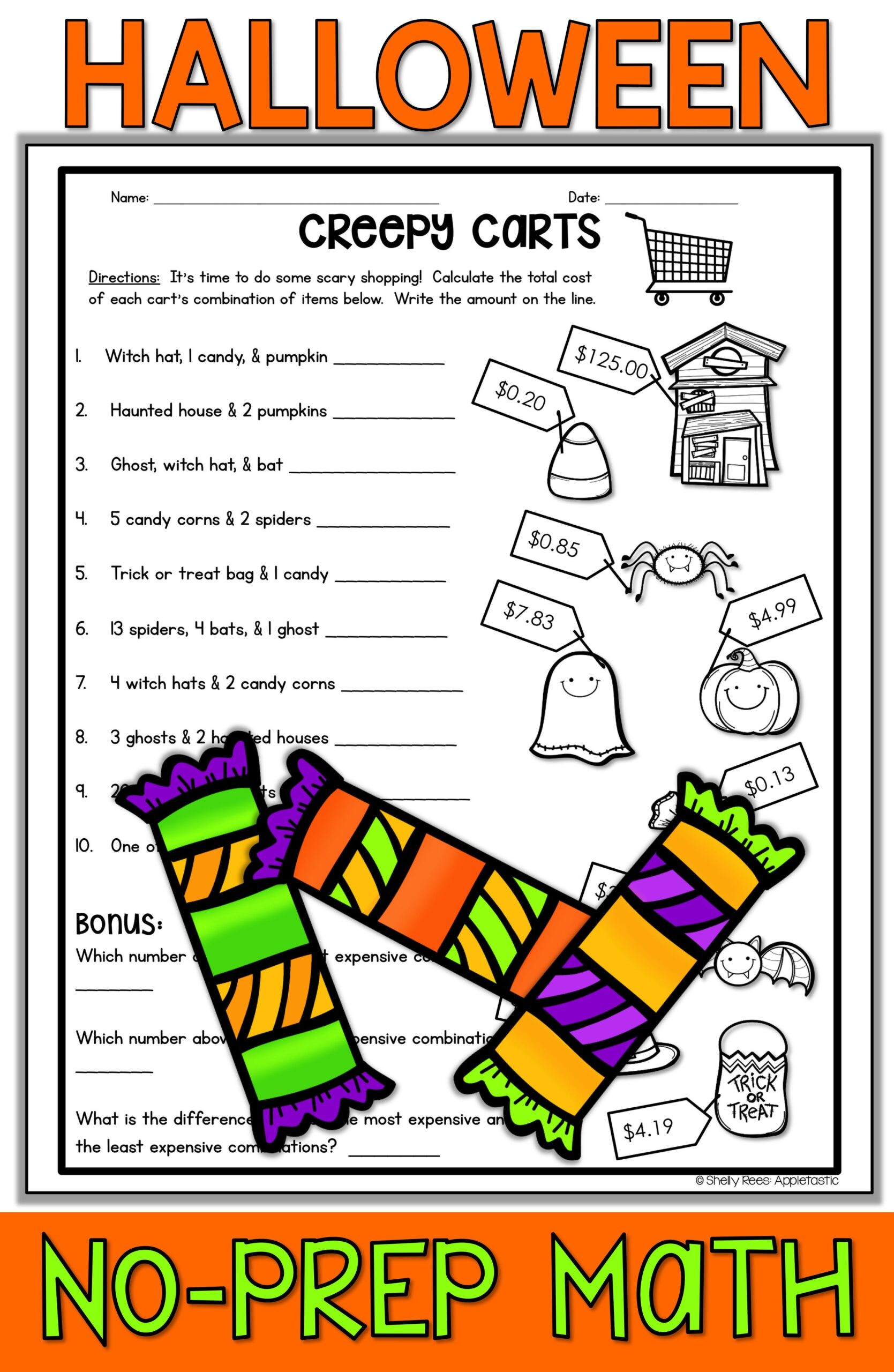 Halloween Math Worksheets Middle School Halloween Math Worksheets Free Middle School Plane and solid