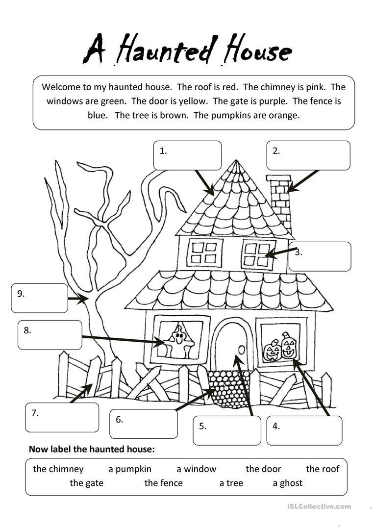 Halloween Worksheets for 2nd Grade A Haunted House Undervisning
