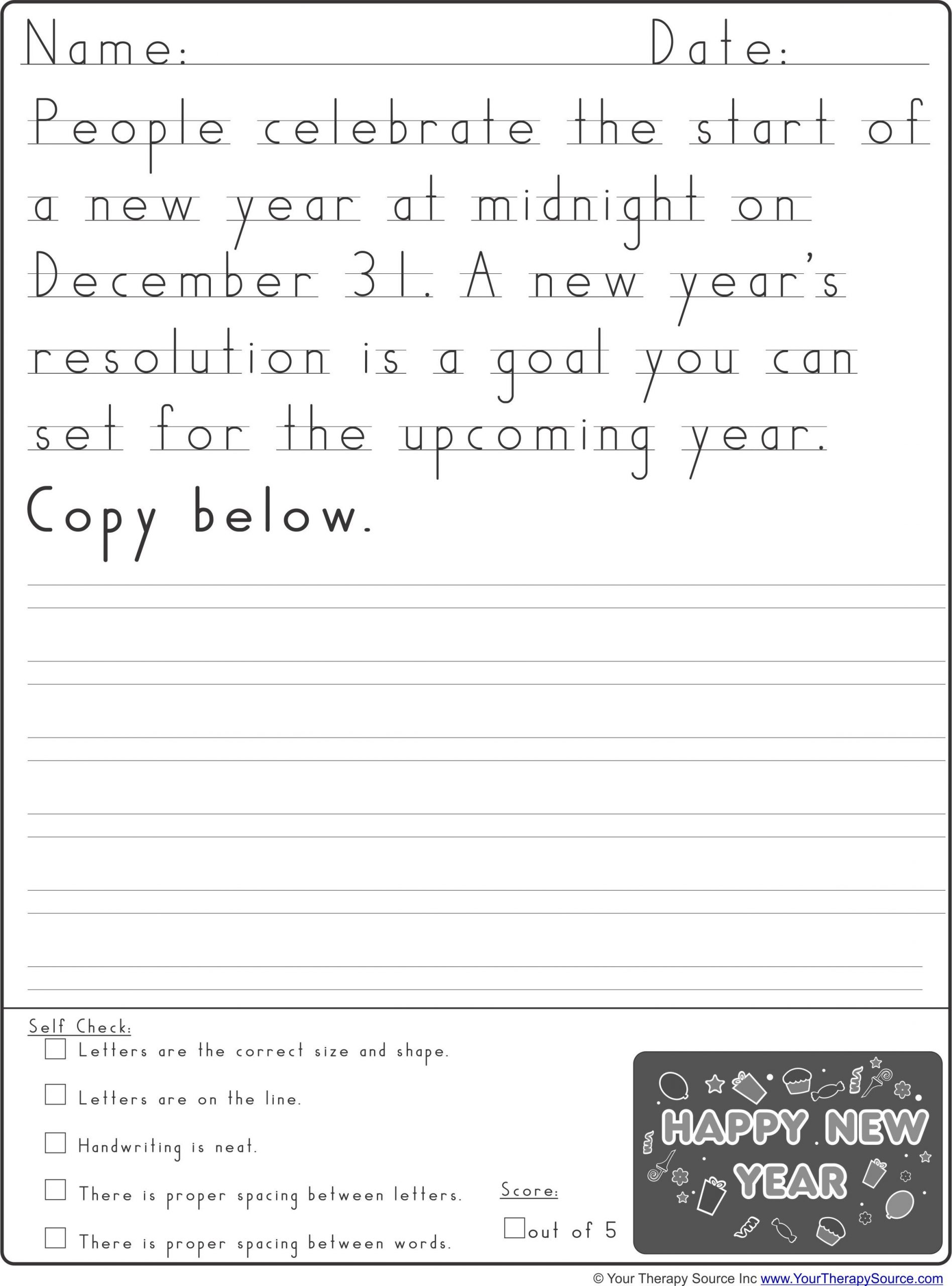 Handwriting without Tears Worksheets New Year S Handwriting Practice