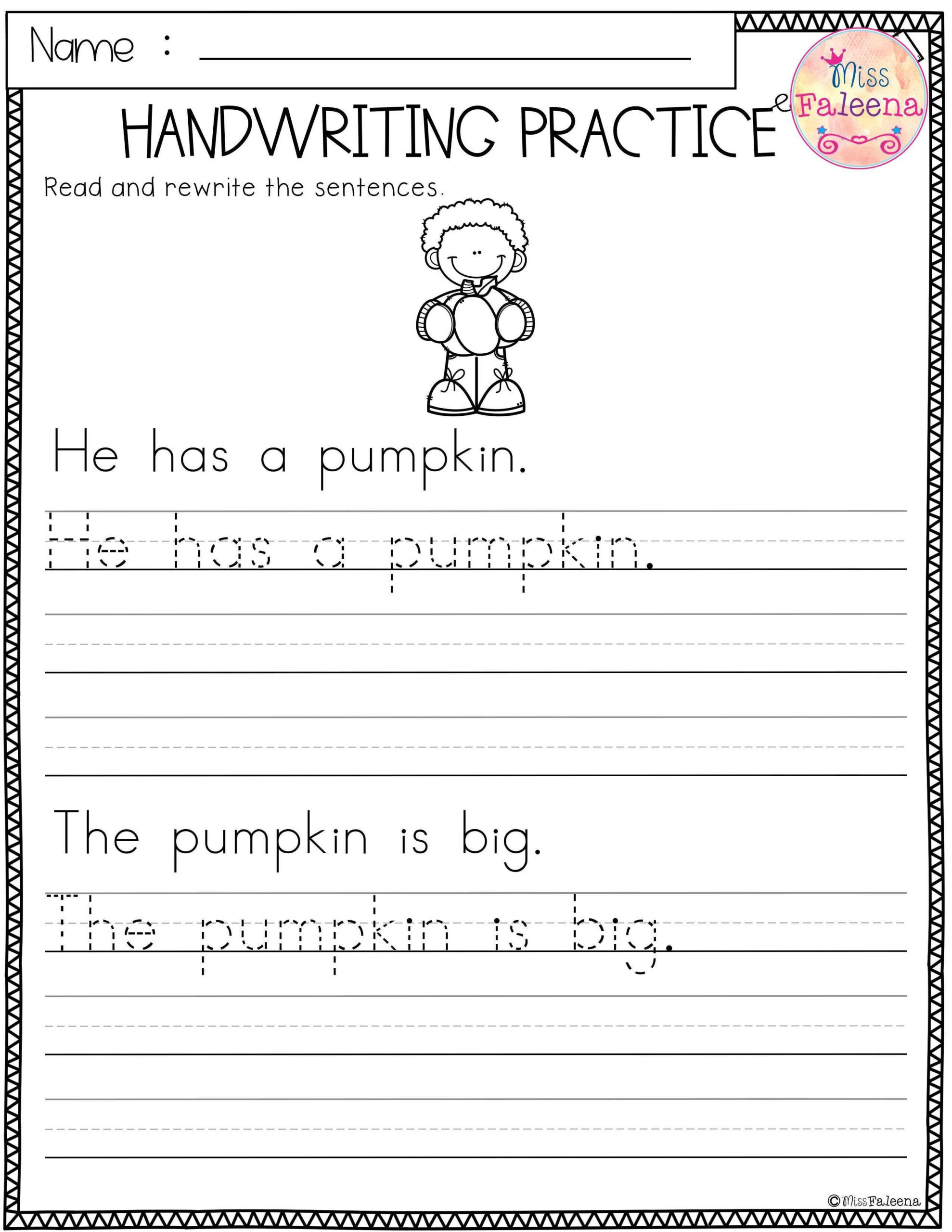 Handwriting Worksheets for Older Students Free Handwriting Practice Worksheets for Kindergarten
