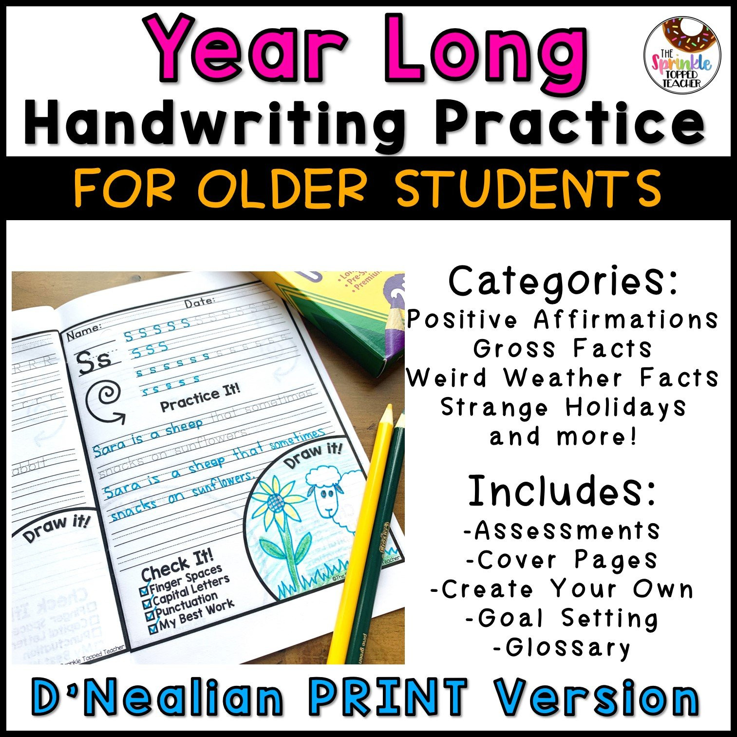 Handwriting Worksheets for Older Students Year Long Handwriting Worksheets for Older Students D