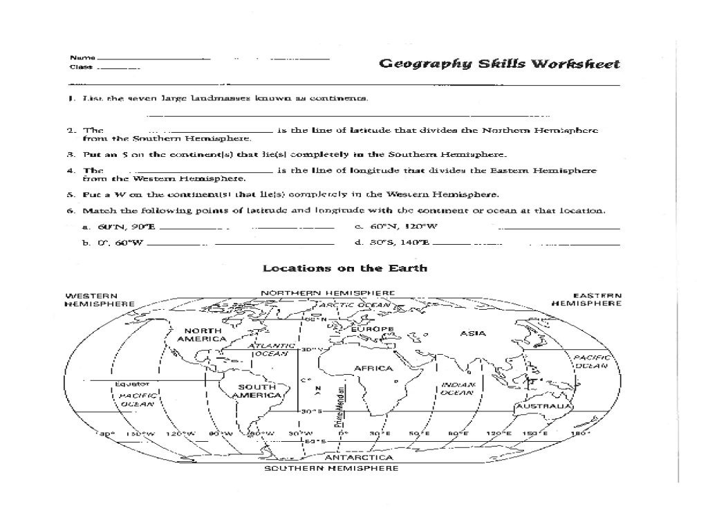 Hemisphere Worksheets 6th Grade Map Skills Worksheet for 6th Grade Reading