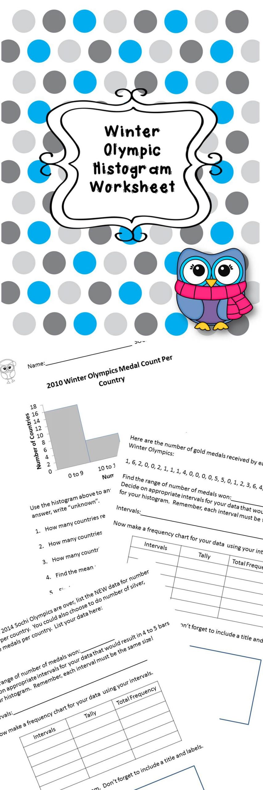 Histogram Worksheets for 6th Grade Winter Olympic Histogram Worksheet