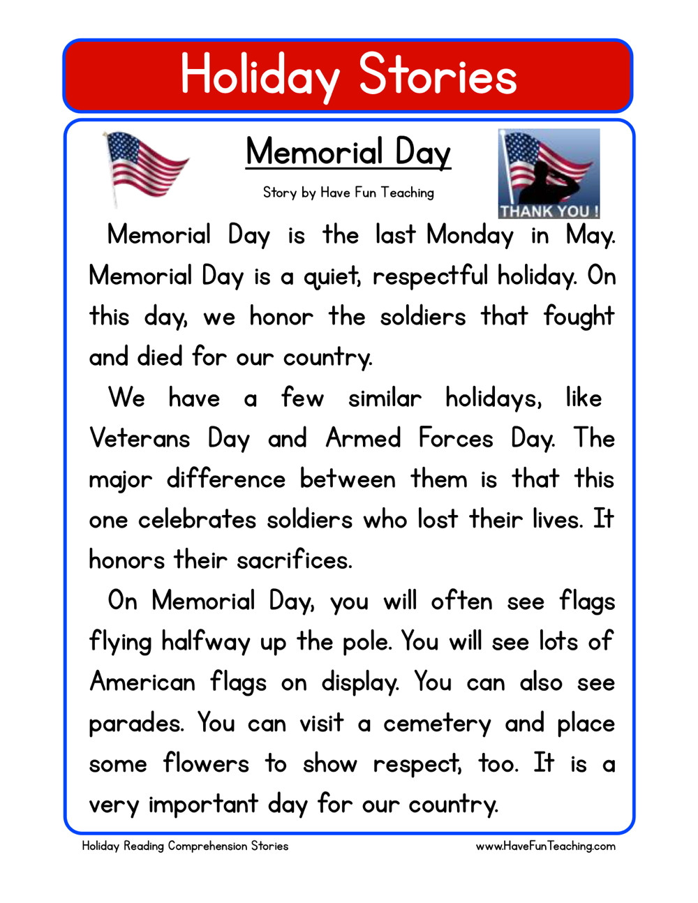 Holiday Reading Comprehension Worksheets Free Memorial Day Reading Prehension Worksheet