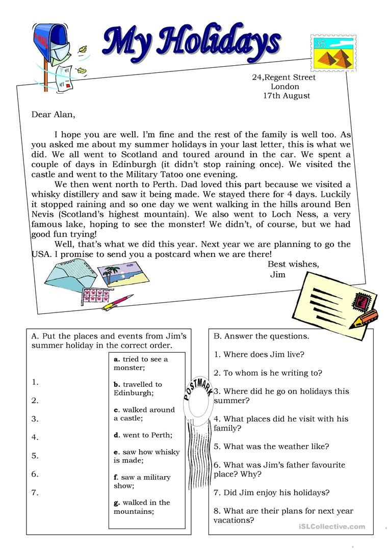 Holiday Reading Comprehension Worksheets Free My Holidays Postcard Worksheet Free Esl Printable