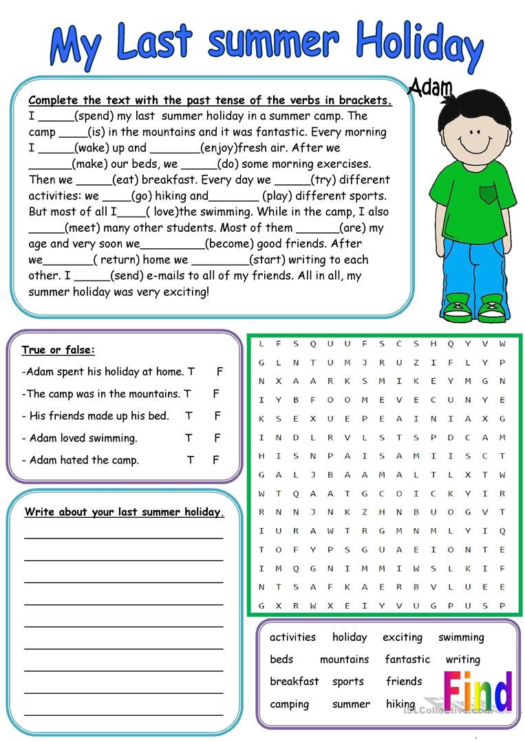 Holiday Reading Comprehension Worksheets Free My Last Summer Holiday English Esl Worksheets for Distance