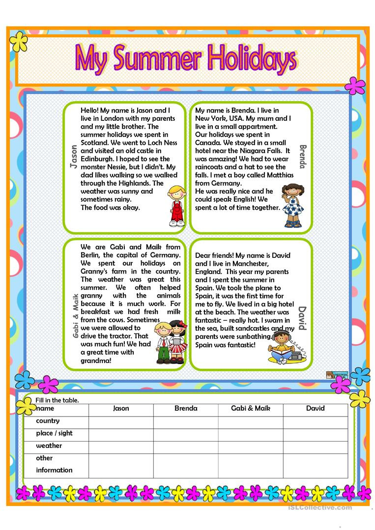 Holiday Reading Comprehension Worksheets Free My Summer Holidays English Esl Worksheets for Distance