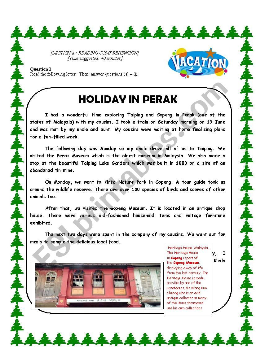 Holiday Reading Comprehension Worksheets Free Reading Prehension About Going for Holidays Esl