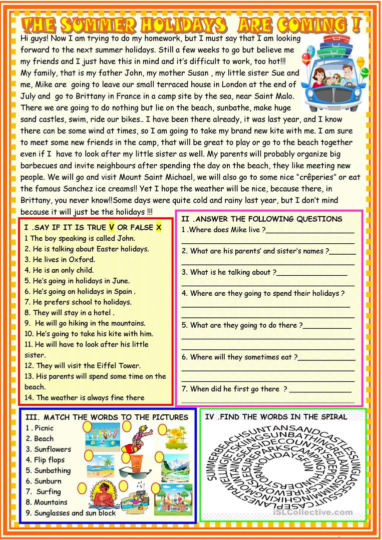 Holiday Reading Comprehension Worksheets Free the Summer Holidays are Ing Reading Prehension
