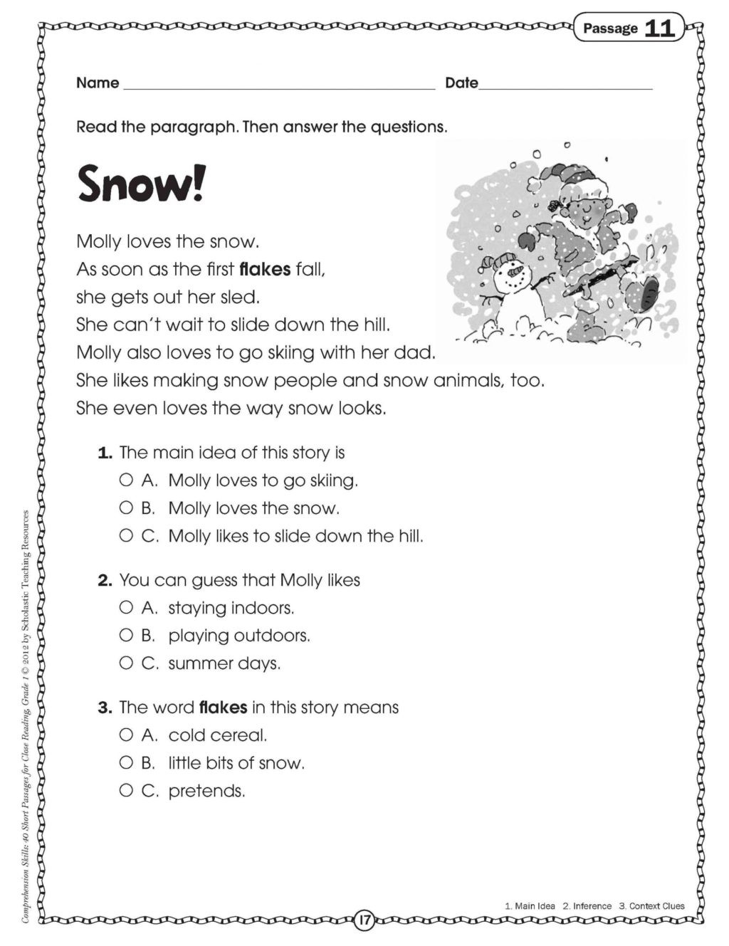 Holiday Reading Comprehension Worksheets Free Worksheet Printable Short Stories for 1st Graders Get