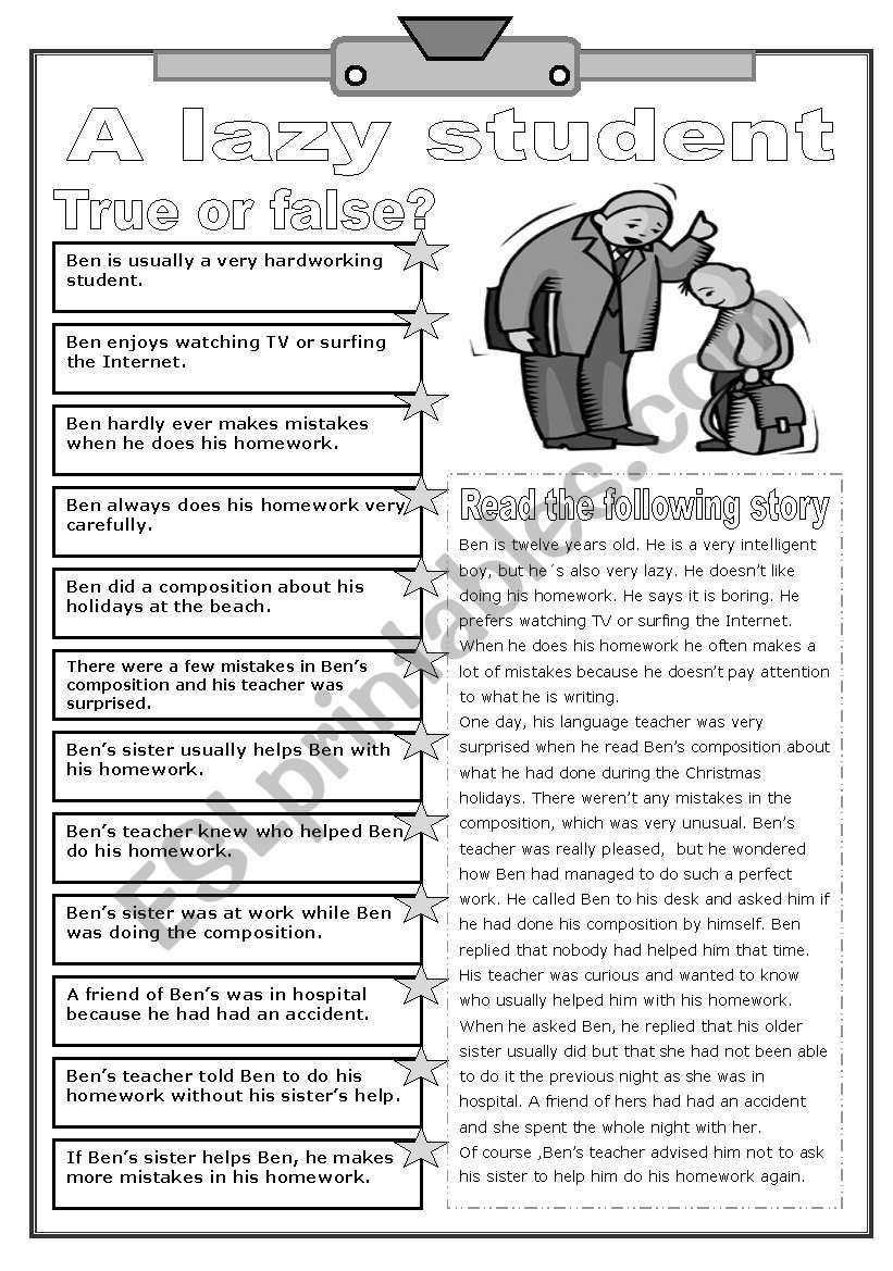 Holocaust Reading Comprehension Worksheets A Lazy Student Reading and Prehension Two Pages B&w