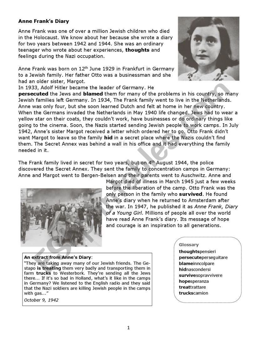 Holocaust Reading Comprehension Worksheets Anna Frank Esl Worksheet by Laurabrunello