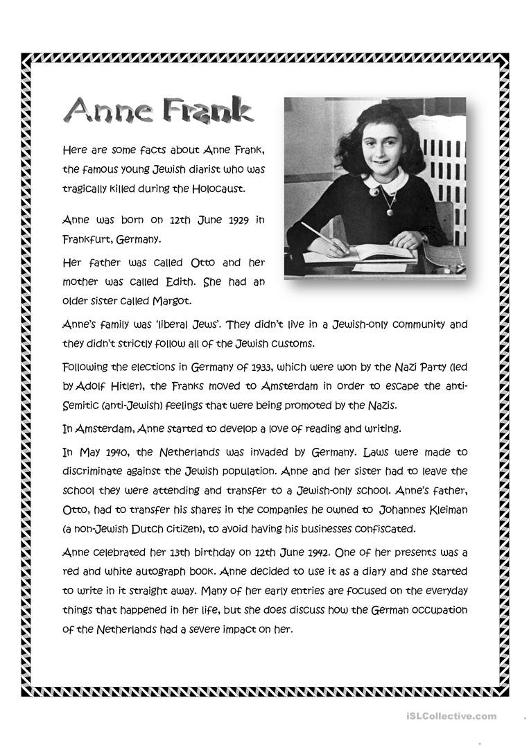 Holocaust Reading Comprehension Worksheets Anne Frank English Esl Worksheets for Distance Learning