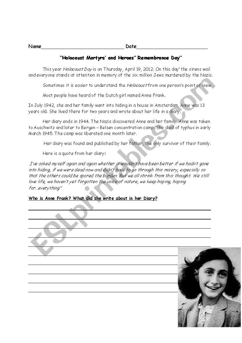 Holocaust Reading Comprehension Worksheets Anne Frank Holocaust Day Esl Worksheet by 1tamar