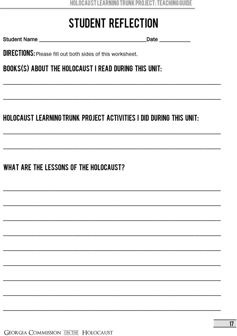 Holocaust Reading Comprehension Worksheets Holocaust Learning Trunk Project Pdf Free Download