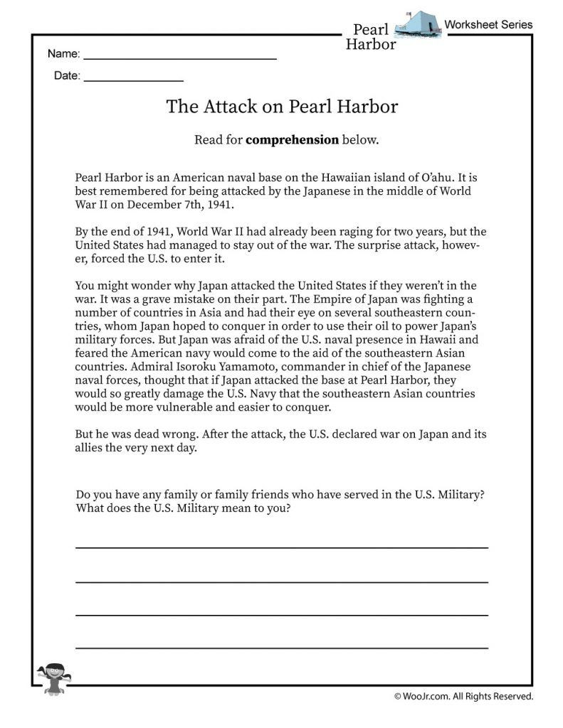 Holocaust Reading Comprehension Worksheets Pearl Harbor Reading Worksheet 1