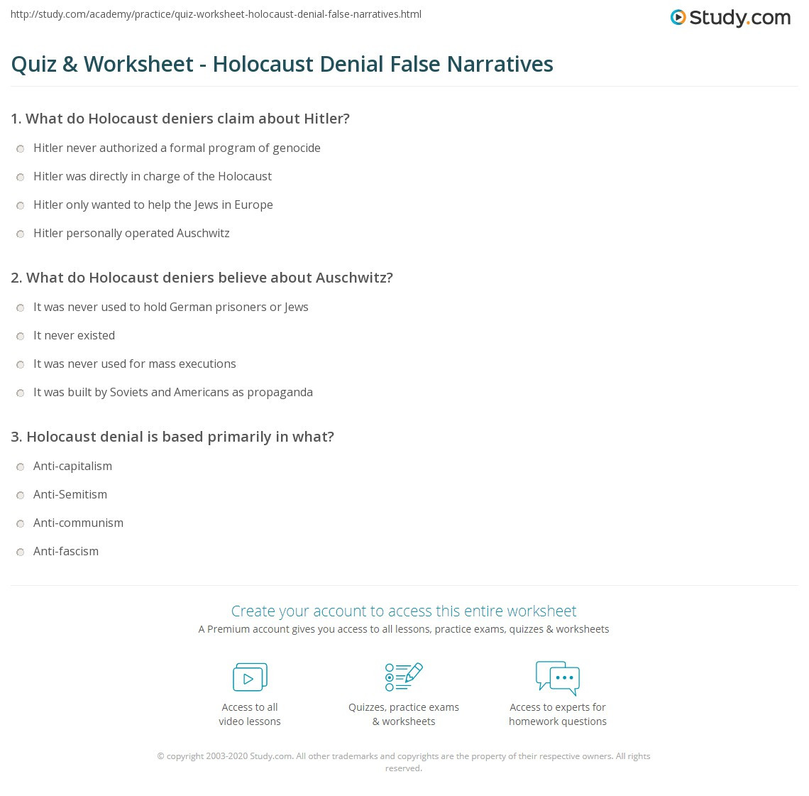 Holocaust Reading Comprehension Worksheets Quiz & Worksheet Holocaust Denial False Narratives