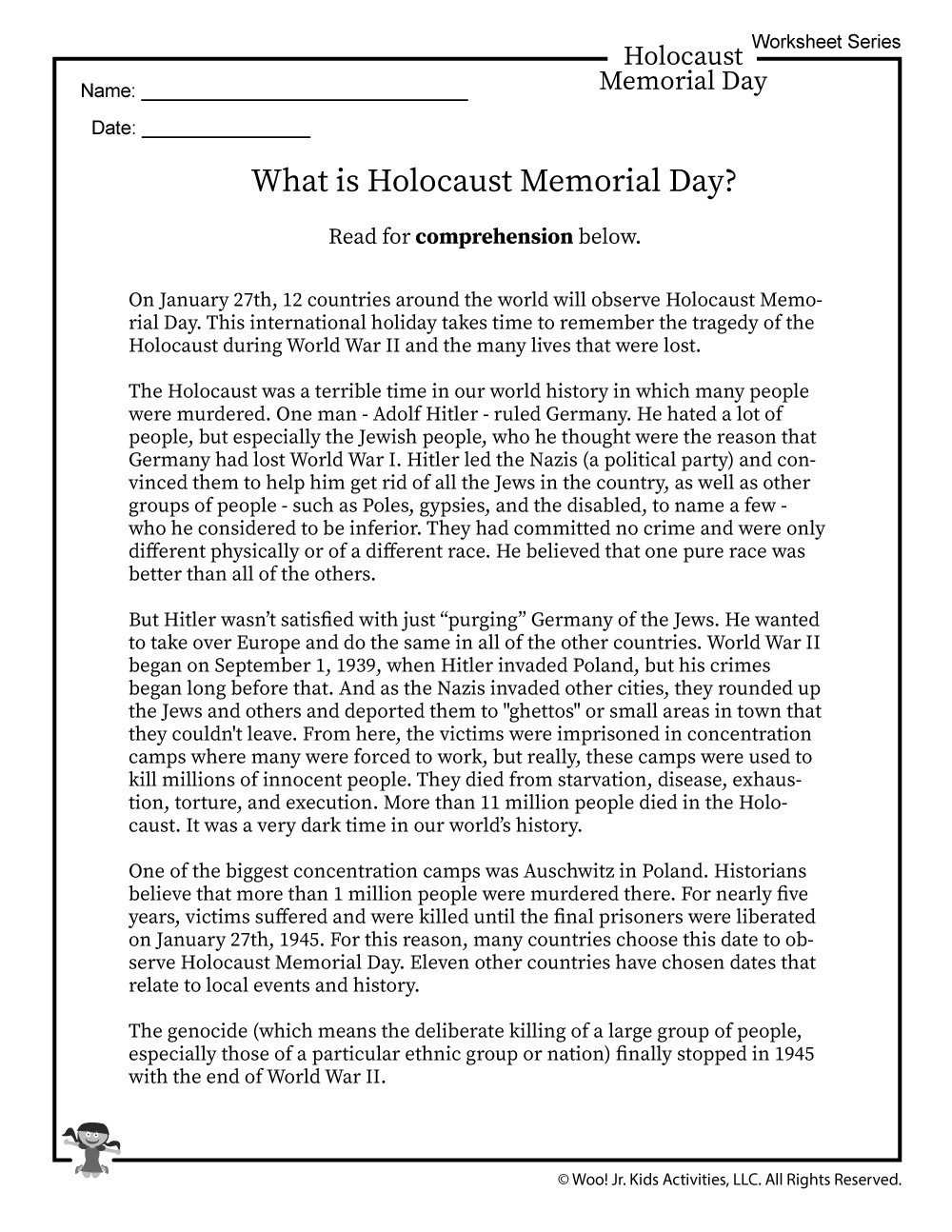 Holocaust Reading Comprehension Worksheets What is Holocaust Memorial Day