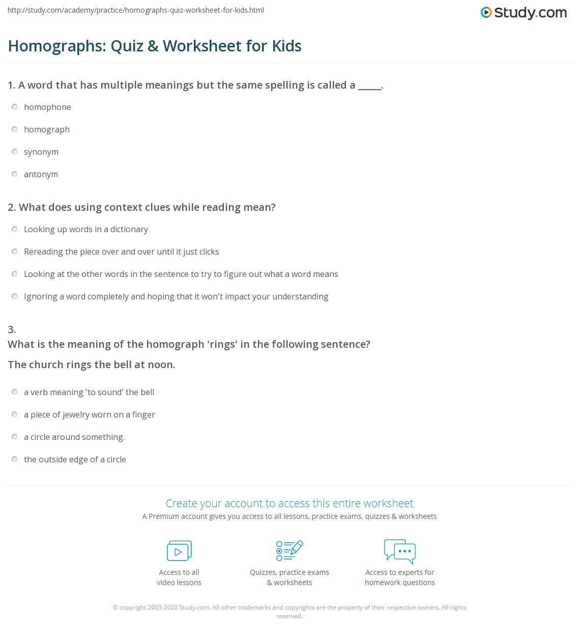 Homograph Worksheet 5th Grade Homographs Quiz & Worksheet for Kids