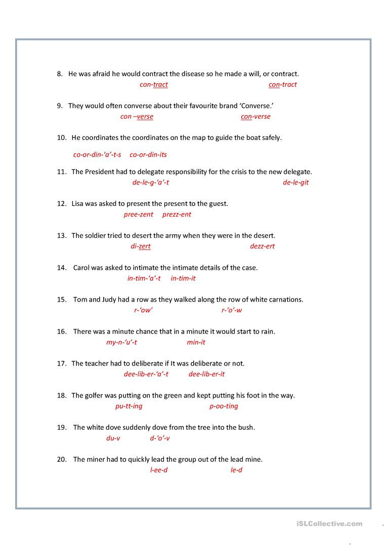 Homographs Worksheet 3rd Grade 8 Printable Homographs Examples Pdf