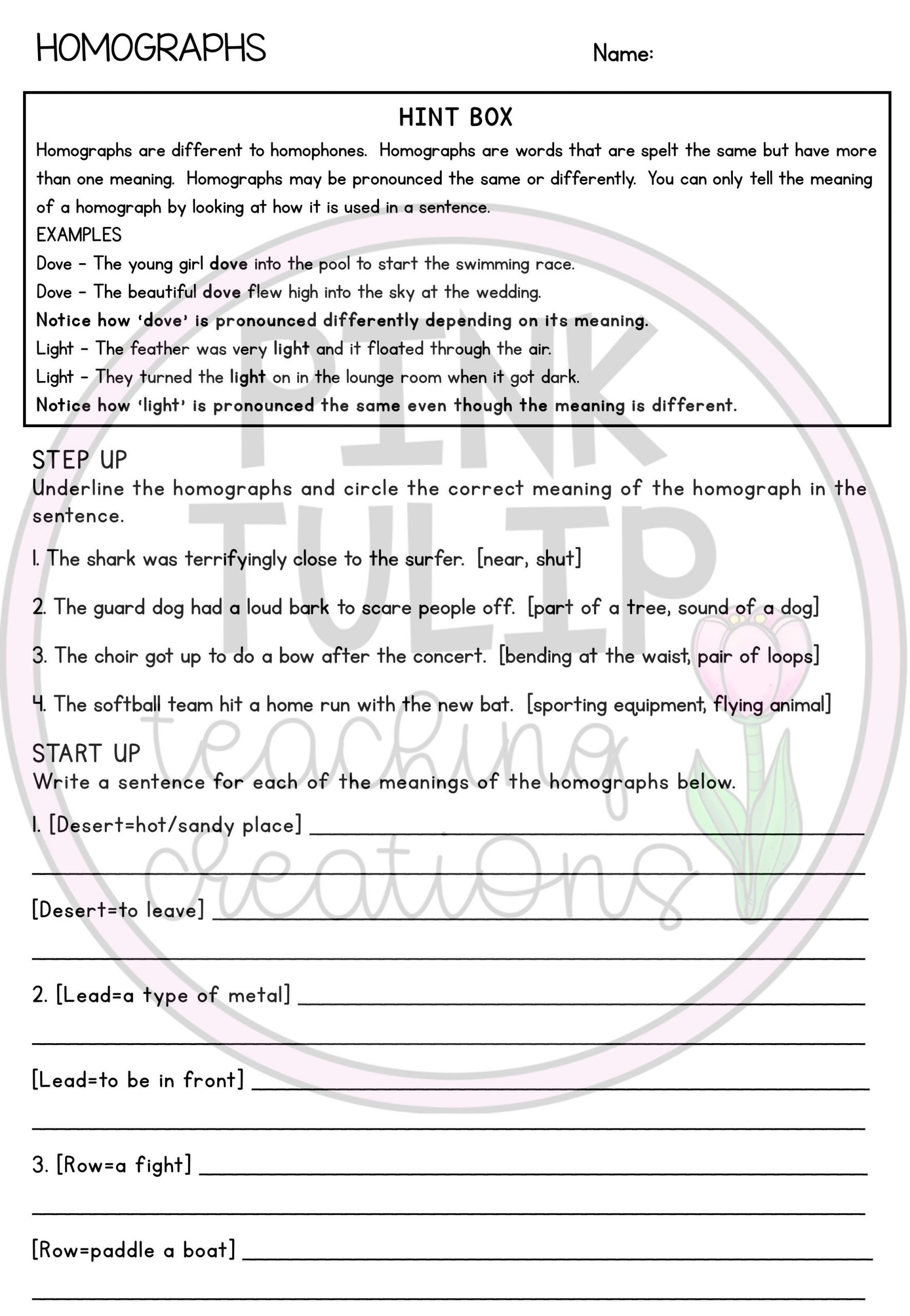 Homographs Worksheet 3rd Grade Homophones and Homographs Grammar Worksheets with Answers