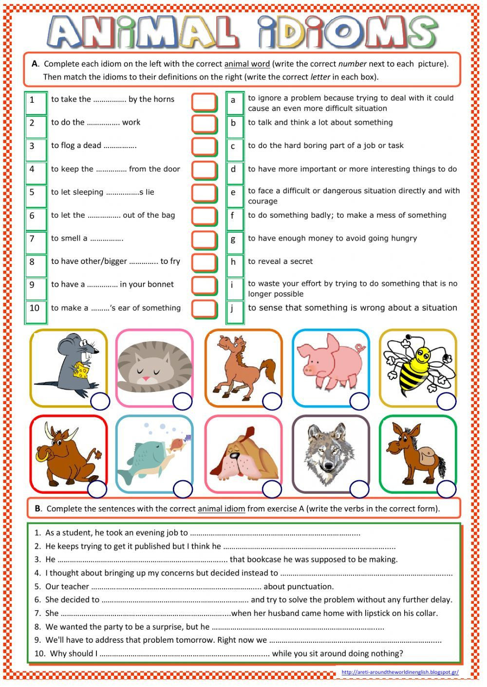 Idiom Worksheets for 2nd Grade Idioms Interactive and Able Worksheet You Can Do