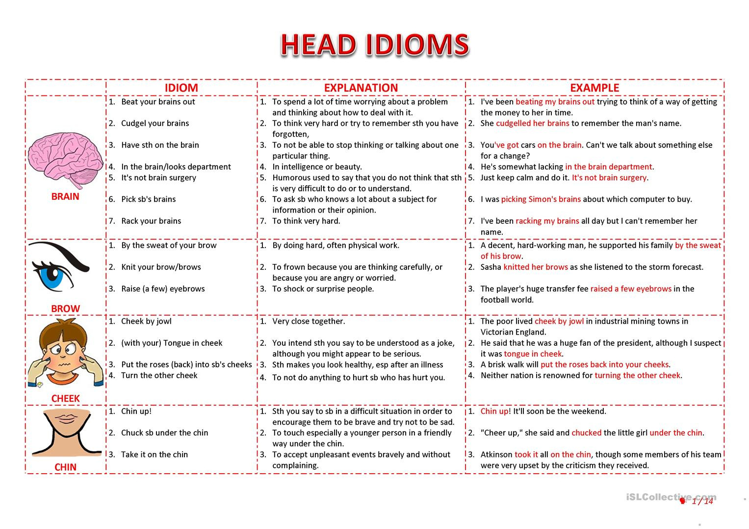 Idiom Worksheets for 2nd Grade Idioms Worksheet Esl