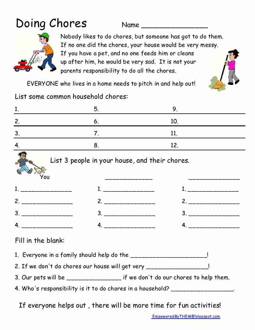 Independent Living Skills Worksheets Chores