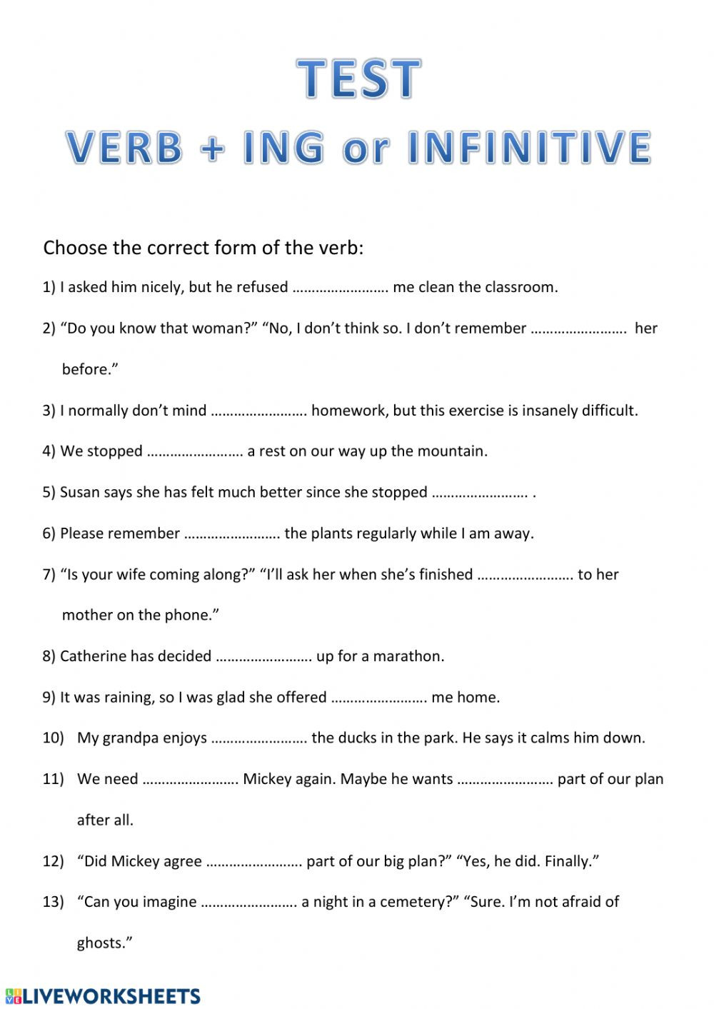 Ing Worksheets Grade 1 Verb Ing or Infinitive Verbs Taking Ing form or