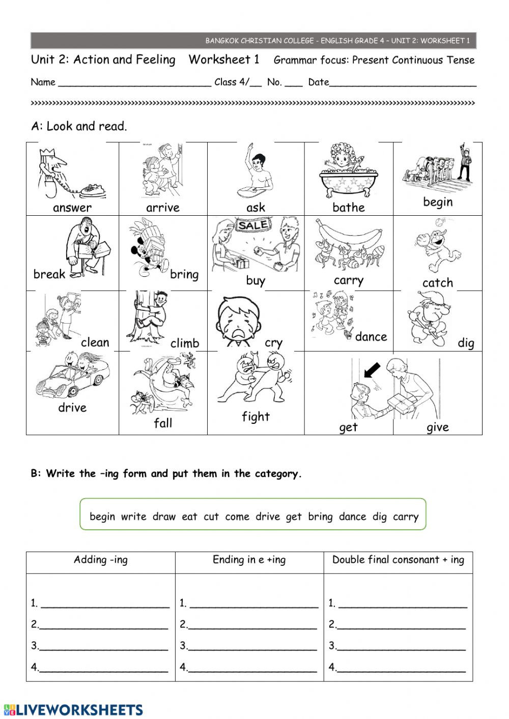 Ing Worksheets Grade 1 Ws 1 Unit 2 Interactive Worksheet